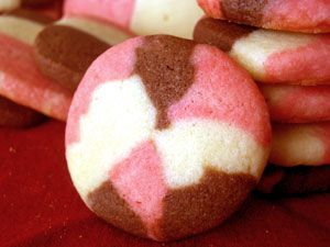 Neapolitan Cookies to go with strawberry, white and chocolate milk at a kids birthday party