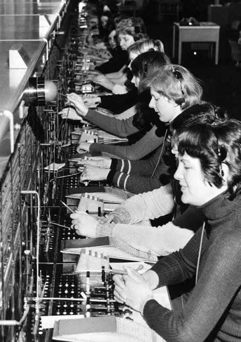 Old fashioned telephone exchange worker 78
