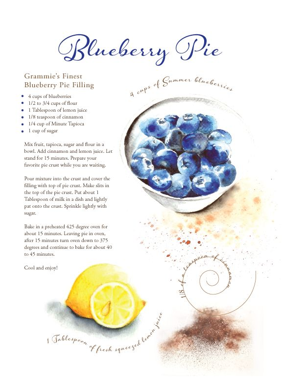 Blueberry Pie Recipe Art - Get your family recipe turned in to kitchen art as a gift.
