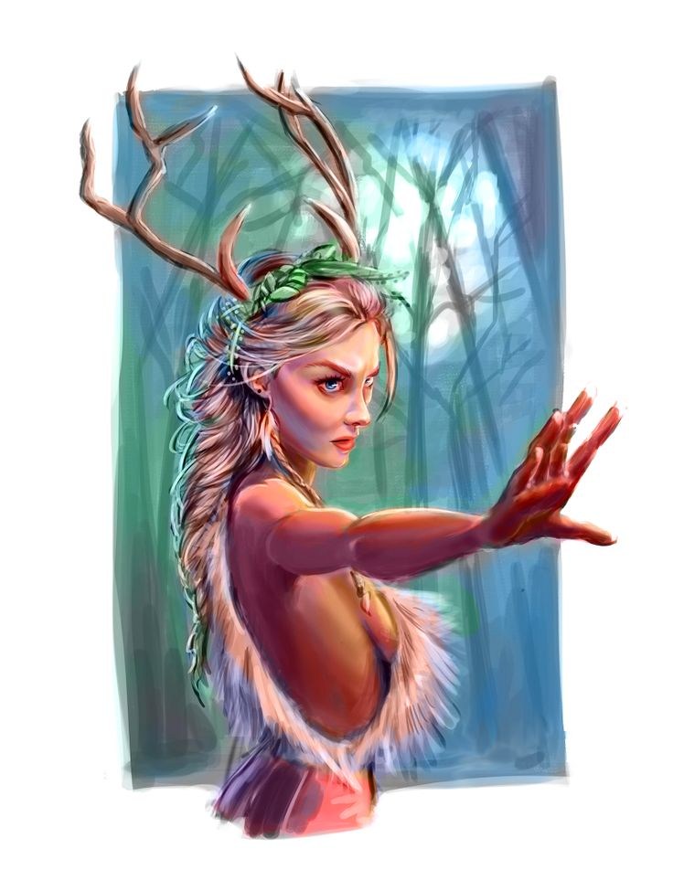 Female Elf Druid Protects Forest - Pathfinder PFRPG DND D&D d20 fantasy