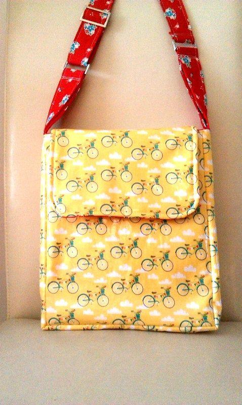 SALE  Bike Girl Messenger Bag // Wipe clean Bicycle by SewSofia