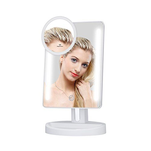 KEDSUM LED Lighted Makeup Mirror,Dimmable Vanity Mirror with Lights,Tabletop Mirror with 5X Pocket Mirror,180° Adjustable Touch Screen,Batteries or USB Charging #KEDSUM #Lighted #Makeup #Mirror,Dimmable #Vanity #Mirror #with #Lights,Tabletop #Pocket #Mirror,° #Adjustable #Touch #Screen,Batteries #Charging