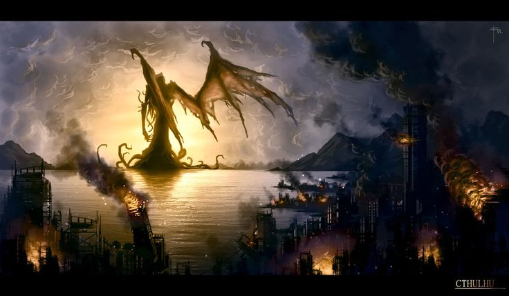 Cthulhu digital art. Makes me want to play  Arkham Horror while watching the Coon and Friends episodes of South Park.