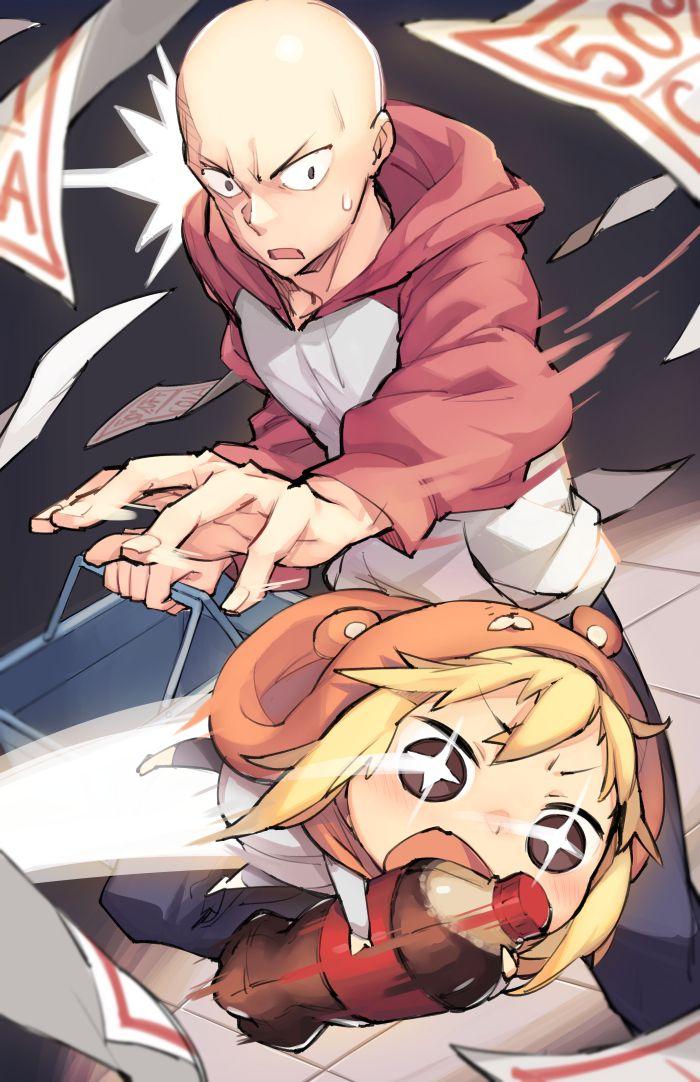 Doma Maru and Saitama Himouto Umaru Chan / One-Punch Man artwork by Gebyy Terar.