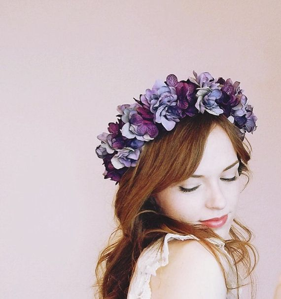 Plum Hydrangea And Delphinium Flower Crown by FreeMountainDesigns, $42.50