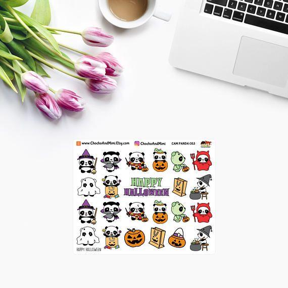 Amanda el Panda ~ feliz HALLOWEEN ~ planificador pegatinas CAM Panda 053