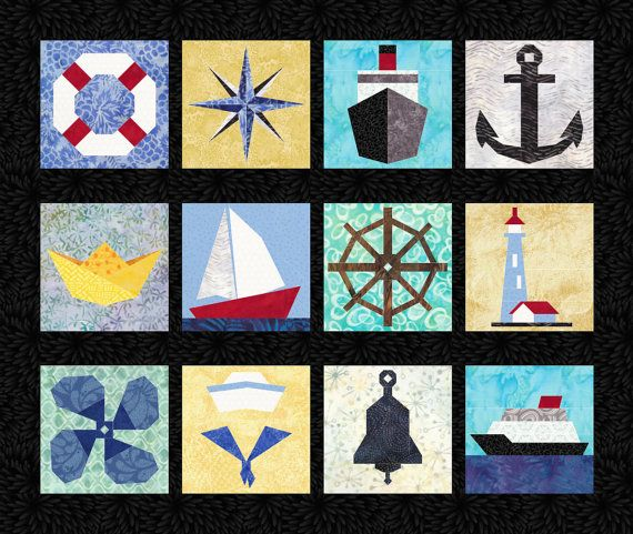 12 Nautical Quilt Block Patterns Boats Ships Anchor