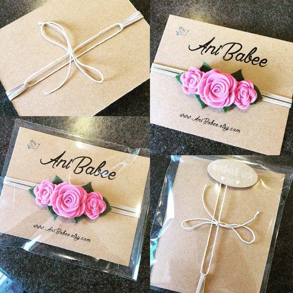 Baby Headband Baby bow headband White Felt Flower by AniBabee