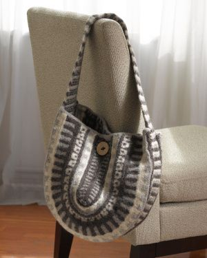 This Felted Tribal Bag is truly unique and makes a great gift. Knit in three shades of Fishermen's Wool and felted, this hobo-style purse will stay sturdy and stylish through years of use.
