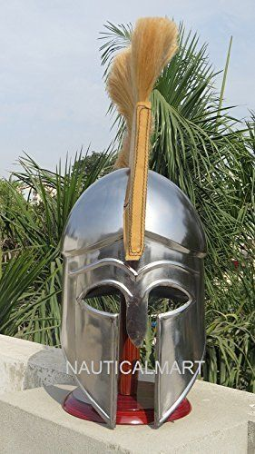 MEDIEVAL GREEK CORINTHIAN HELMET WITH GOLDEN CREAM PLUME SPARTAN COSTUME ARMOR