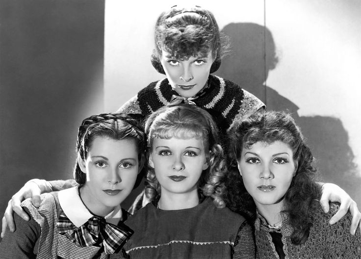With Katharine Hepburn, Frances Dee, and Jean Parker in LITTLE WOMEN (1933).