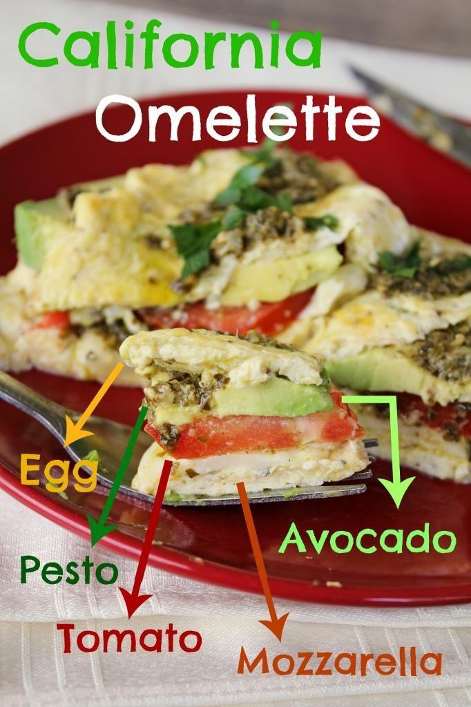 ... Omelette. Filled with avocado, tomato, mozzarella and pesto. Get