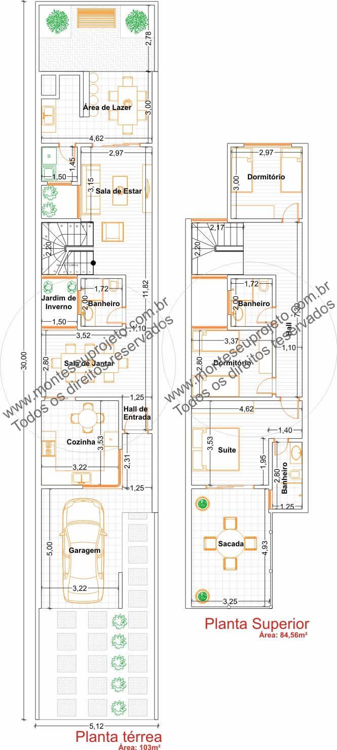 Planta de sobrado com espaços bem dimensionados com área total de 187,56 m², procura atender terrenos com dimensões frontais de 5 metros,