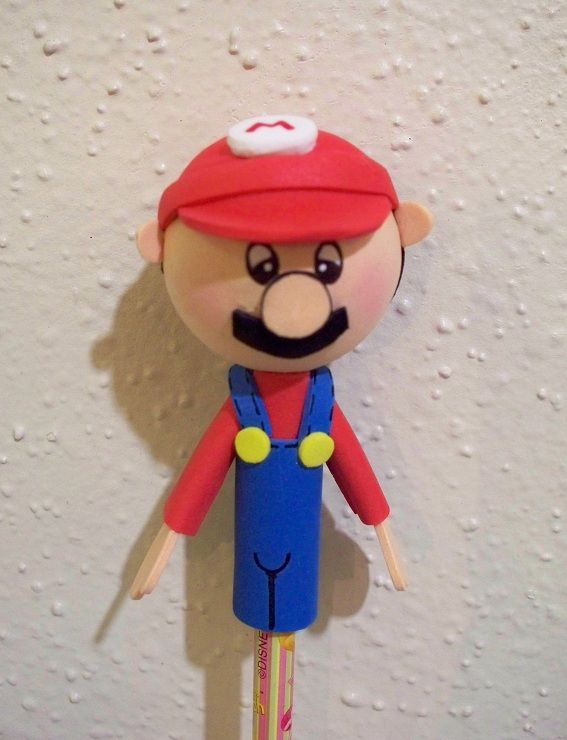 Mario Bros. craft foam pencil topper