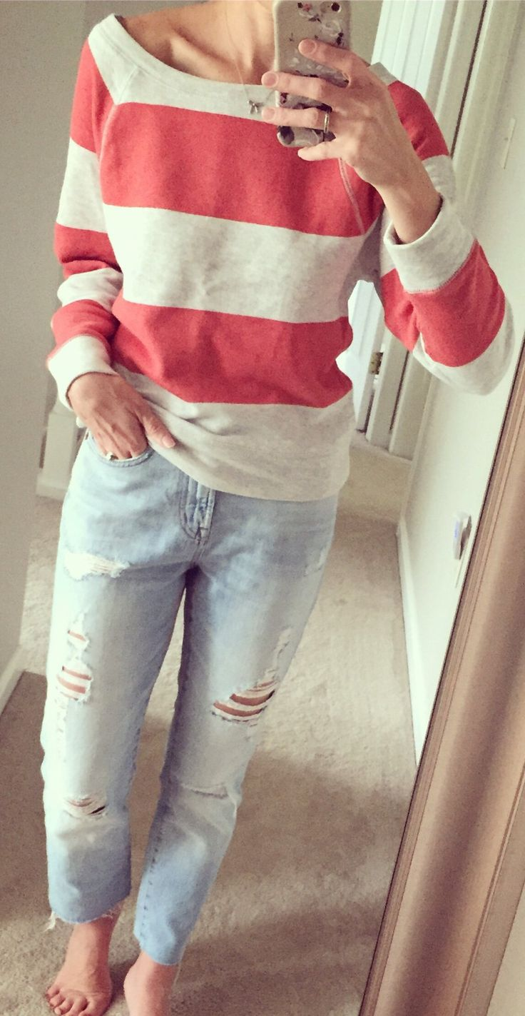 #summer #outfits Striped Top + Ripped Bleached Jeans