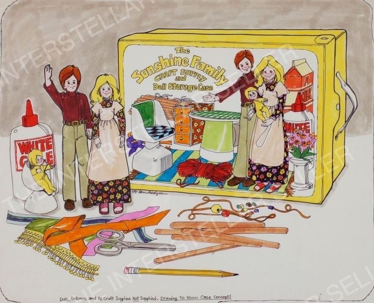 Rare ORIGINAL 1975 SUNSHINE FAMILY CRAFT/DOLL STORAGE CASE CONCEPT ART Vintage 2