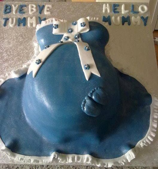 Pregnant Tummy Themed Baby Shower Cake decorated by Coast Cakes Ltd