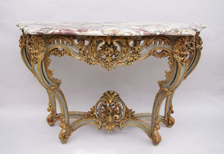 Louis XV style console in sculpted, openwork and lacquered wood circa 1900 by Jean-Luc Ferrand #louisxv #openwork #sculptedwood #giltwood #marble #console #rococo #rocaille
