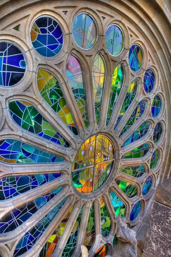 Blue with Yellow stained glass rose window