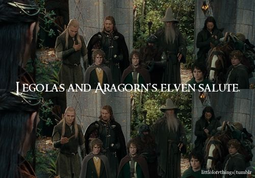 Legolas and Aragorns elven salute. I need to start doing this. I'm serious, guys. I will totally do this. :D <-- me too! <---- YEP.