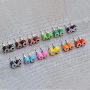 Hexagonal Colour Pencil Earring Studs