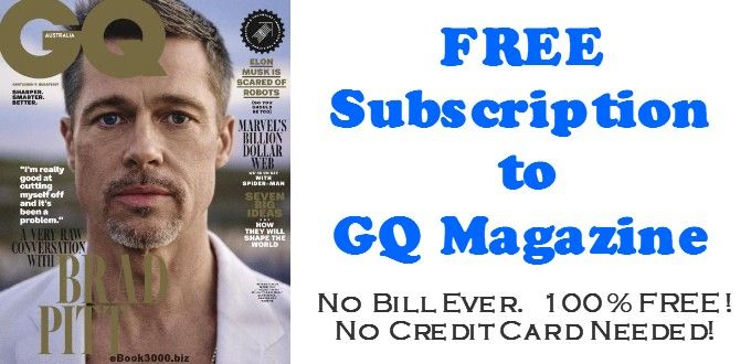 GQ Magazine FREE Subscription for 1 year - 12 FREE ISSUES! 100% FREE! No Credit Card Required. No Bill EVER! This magazine is absolutely FREE!