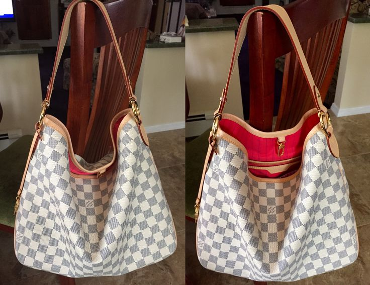 louis vuitton delightful pm in damier azur  love the pink lining that just pops  fun  great