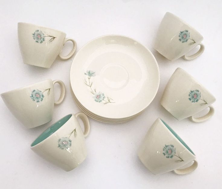 Vintage Cup Saucer Set (6) Taylor Smith Taylor Ever Yours Boutonnière Carnation #TaylorSmithTaylor