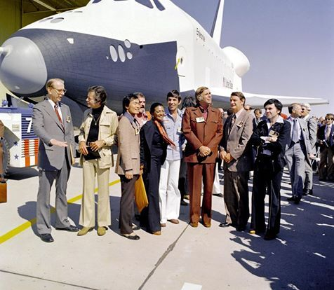 In 1976, NASA's space shuttle Enterprise rolled out of the Palmdale manufacturing facilities and was greeted by NASA officials and cast members from the 'Star Trek' television series.