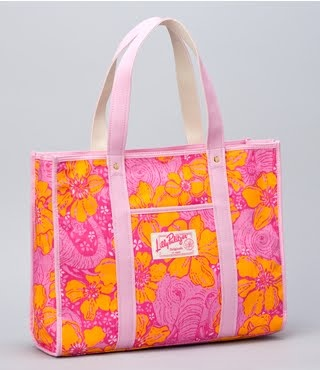 Pink and orange Lilly Pulitzer tote.