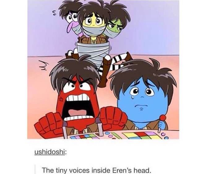 Accurate af Attack on Titan X Inside Out~ I think all of Eren's emotions would consist of Sadness and Anger