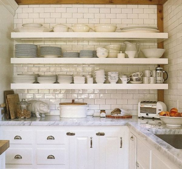 White Kitchen Cabinets Marble Countertops Subway Tiles