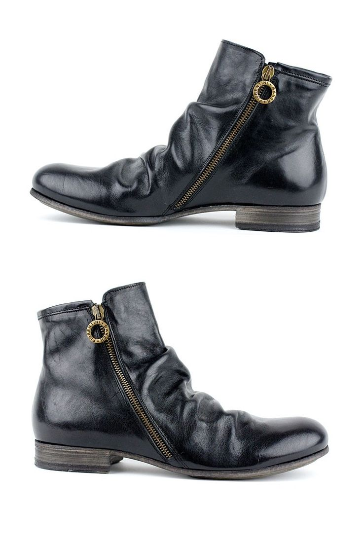 F+B GECO Double Zip Ankle Boot >>> Fiorentini + Baker ups the cool factor with this double zipper black ankle boot for men.