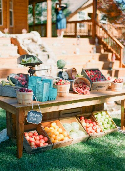 Northern California Backyard Wedding: farmer's market fruit stand, cocktail hour www.joyfulweddingsandevents.com