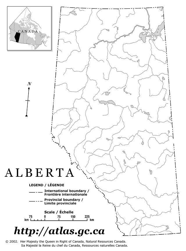 Alberta Grade 4 Social Studies 4.1  - Landforms - Rivers - Blank Map of Alberta's Rivers