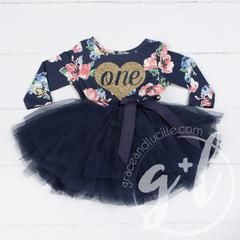 """First Birthday Dress Heart of Gold with """"ONE"""" on Navy Floral Long Sleeves - Long Sleeves / ONE / 6-12 Months"""