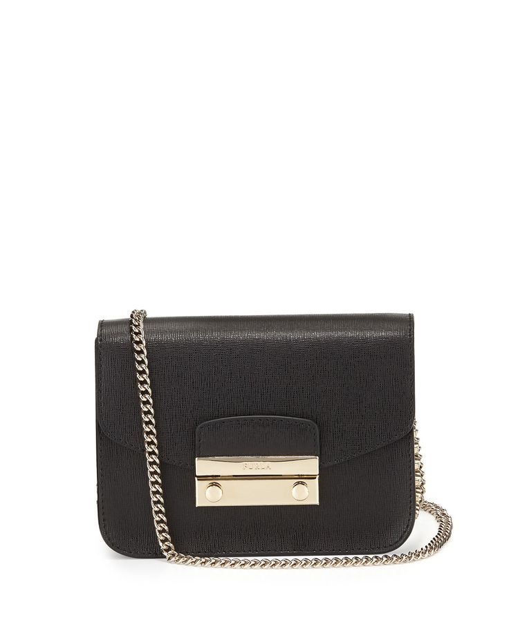 Furla Julia Mini Studded Leather Crossbody Bag, Onyx (Black)