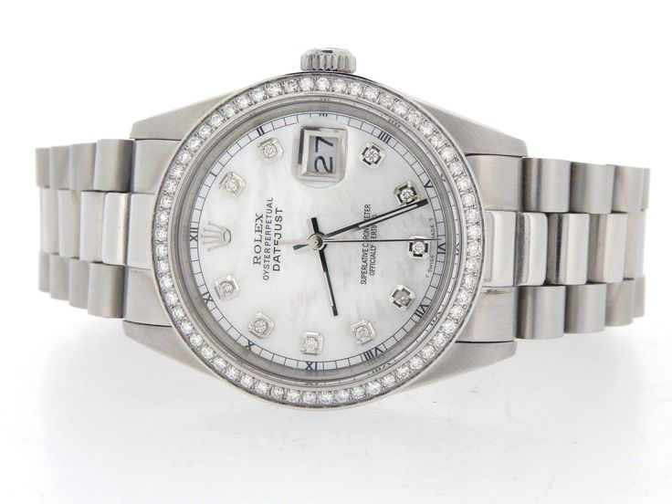 #Forsale #Rolex Datejust Mens Stainless Steel Watch W White Mop Diamond Dial 1ct Bezel - Price @$2,600.00