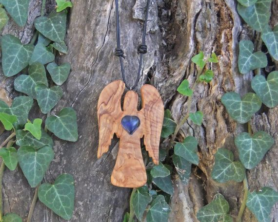 Olive wood guardian angel with  inlaid hand by ellenisworkshop, $42.00