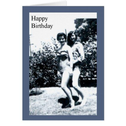 Happy Birthday Pinup Girls Retro Card - birthday cards invitations party diy personalize customize celebration