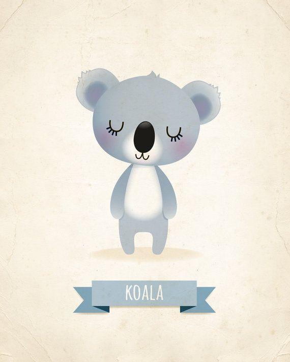Vivero arte impresión impresión del Koala arte por IreneGoughPrints