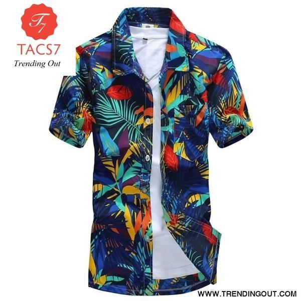 Men Hawaii Shirt Summer Beach Leisure Floral Tropical Seaside Hawaiian Shirts Plus 3XL Casual Camisas Short Sleeve Tops
