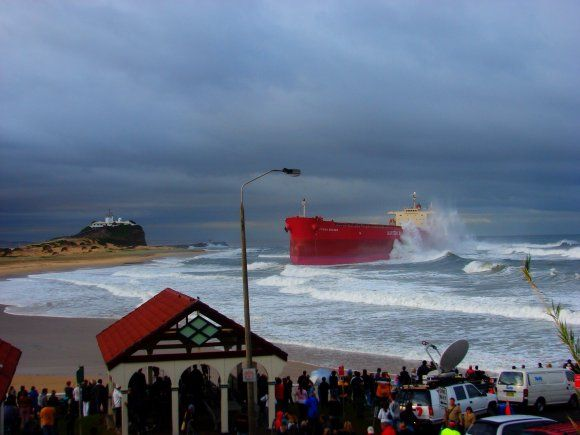 During a storm in 2007 the Pasha Bulka was washed up onto a Beach in Newcastle, New South Wales.