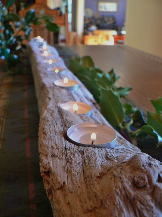 Holiday center piece, Rustic candle holder, driftwood candle holder, large mantle piece, Cabin decor, coastal decor, beach decor