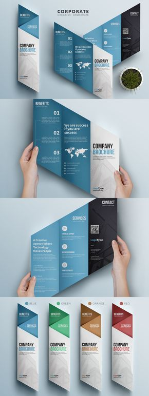 Creative Corporate Trifold Brochure Creative Market   Awesome trifold brochure f...