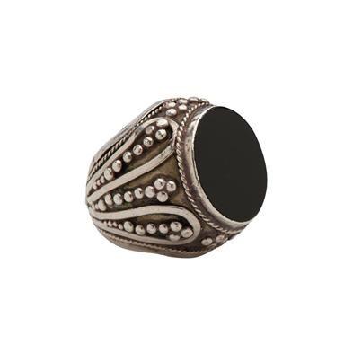 Onondaga | Silver oxydized ring with black onyx