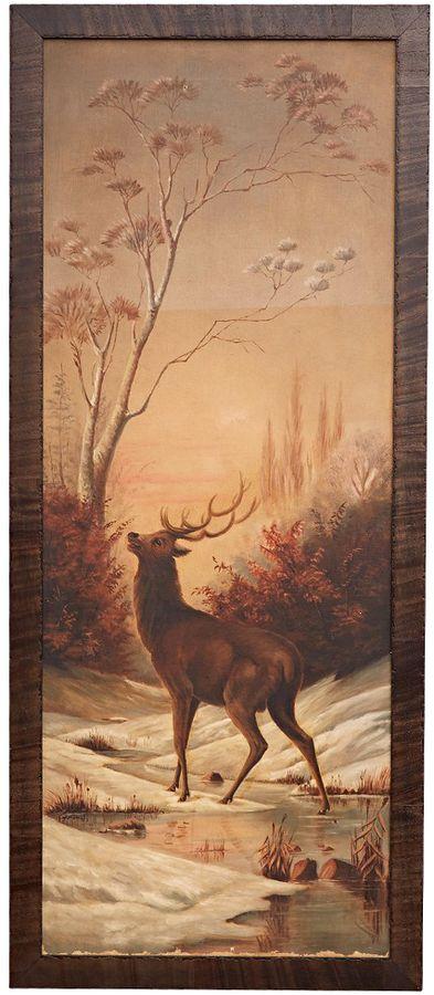 Original Oil Elk Painting in Tall Frame