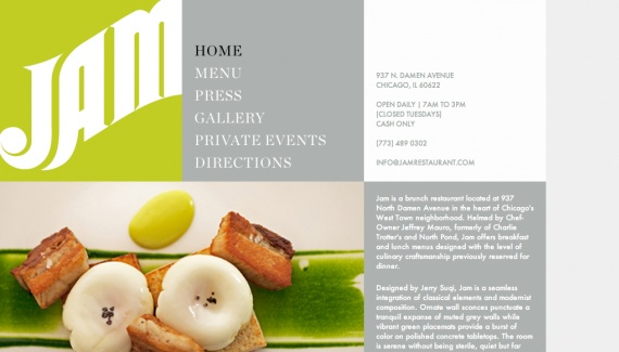 Jam Restaurant - Web design inspiration from siteInspire