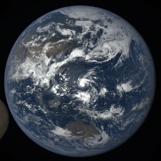 Moon crossing face of Earth.