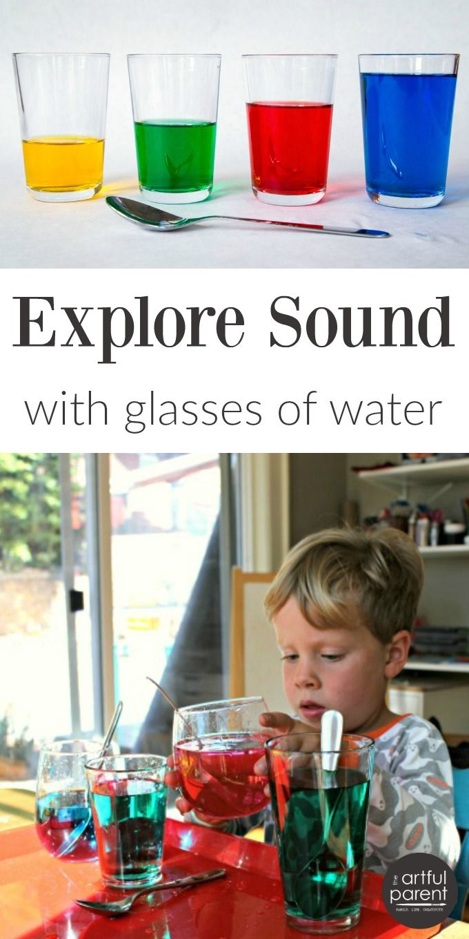 Explore sound with glasses of colored water. This is a simple and fun experiment for kids that combines science, music, and art!